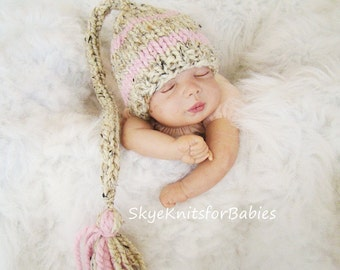 Knit Baby Hat, Newborn Elf Hat, Baby Girl Elf Hat, Baby Stocking Hat, Baby Hat, Newborn Photography Prop