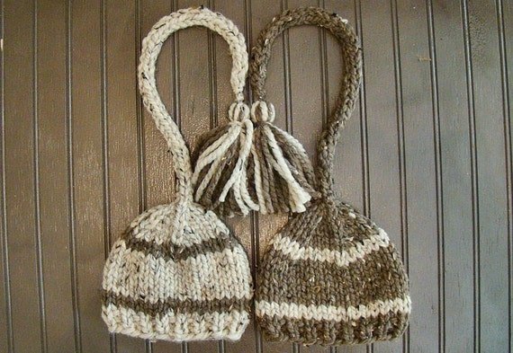 Twin Set Baby Elf Hats in Oatmeal and Barley