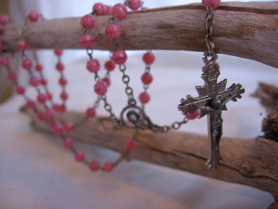 Pink Glass Rosary Beads made in Italy
