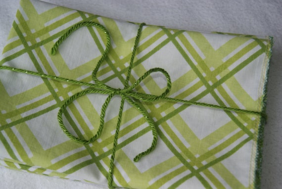 Cloth Napkins Cotton Napkins in Green Grass Stripes (4)
