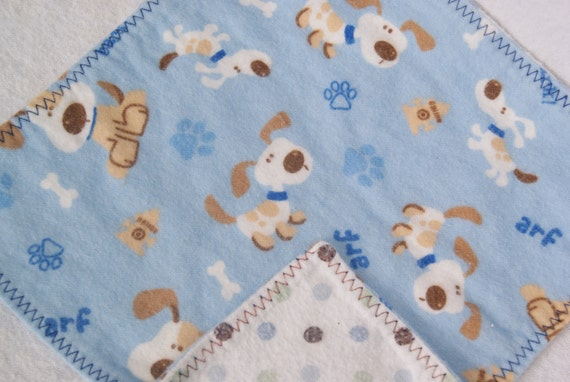 Double Sided Flannel Wipes for Baby Upcycle Sale puppy dogs and polka dots