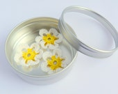 Magnet Daisy Flower White Yellow Home Decor Wedding Favor Tin