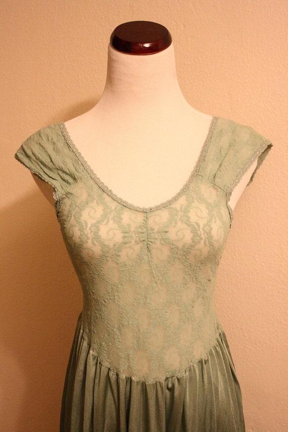 Vintage SEASCAPE mint green lace slip/dress