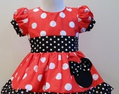 Girls Hand Made Custom Boutique Minnie Mouse Red Dress Puff Sleves 12M To 6Y