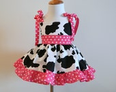 GIRLS CUSTOM COW Print And Pink Cowgirl Jumper Dress