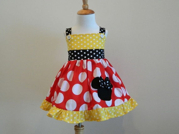 Girls Custom Hand Made Minnie Mouse Red White And Yellow Polka Dot Jumper Dress