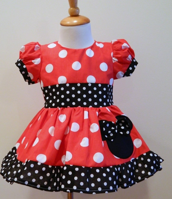 Girls Hand Made Custom Boutique Minnie Mouse Red by FunUpTownGirls