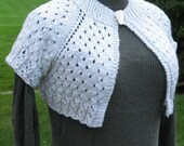 Hand Knit White Shrug Size Small