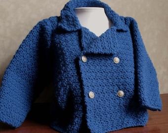 Toddler's-Child's Crocheted Blue Blazer Size 6-12 months