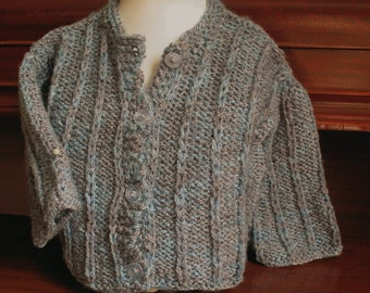 Hand Knit Baby Sweater in Dusky Blues Size 6-9 months