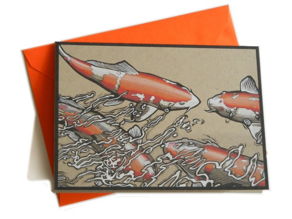 Koi Fish Hand Painted Card with Envelope