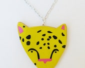SALE - Leopard Necklace - Yellow - Ships April 26th