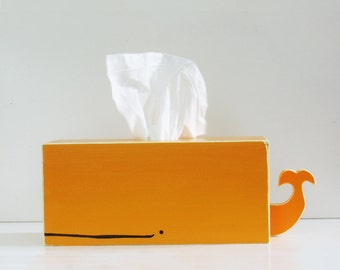 PRE-ORDER SALE: Whale Tissue Holder - Orange - Ships Feb 23rd/24th / nursery gift baby gift baby shower nautical pirate handmade warm colors