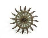 Vintage Plow Wheel Green Garden Art Candle Holder