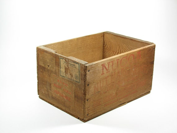 Vintage Wood Crate Advertising Box Wooden Nucoa Butter Co