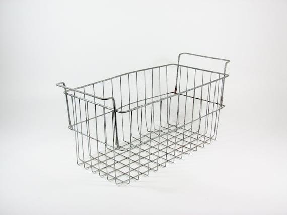 Vintage Metal Wire Basket Bin Tote with Handles