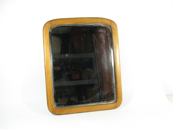 Vintage Wall Mirror Hanging Mirror Beveled Glass Oak Frame