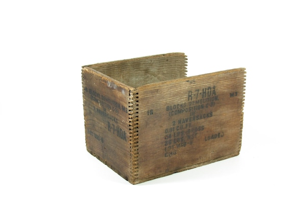 Vintage Wood Crate Wooden Box Dovetailed Advertising Crate