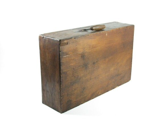 Vintage Wood Box Wooden Suitcase Chest Luggage By Bridgewoodplace
