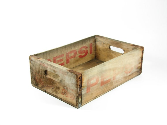 Vintage Wood Pepsi Crate Wooden Box Red Logo By