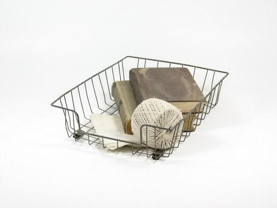 Vintage Metal File Tray Wire File Basket Office Bin Mail Tray