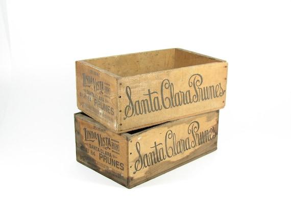 Vintage Wood Fruit Crates Wooden Boxes Santa Clara Prunes San