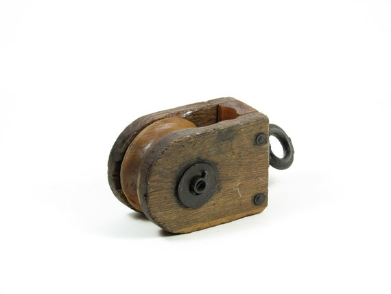 Vintage Barn Pulley Oblong Wood Cast Iron