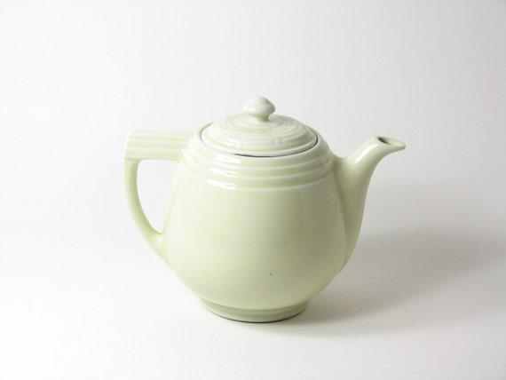 Vintage Ceramic Teapot Coffee Pot Pastel Yellow Pottery Cream Pale Yellow