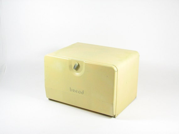 Vintage Bread Box Metal Kitchen Storage Container Pastel Yellow 2 Shelves Retro Kitchen Decor Spring Decor