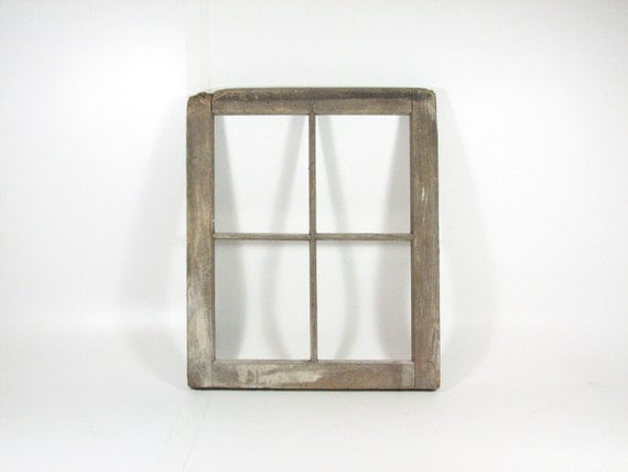 vintage wood window frame without glass weathered wood frame