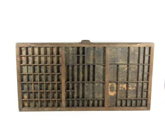 Vintage Wood Printer Drawer Letterpress Tray Shadow Box Display Case Linotype Leadset