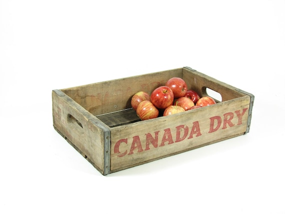 Vintage Wood Crate Wooden Box Canada Dry Soda Pop Crate Shadow Box Display Shelf