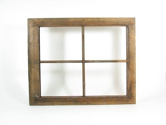 Vintage Wood Window Frame 4 Pane 8x10 without Glass Weathered