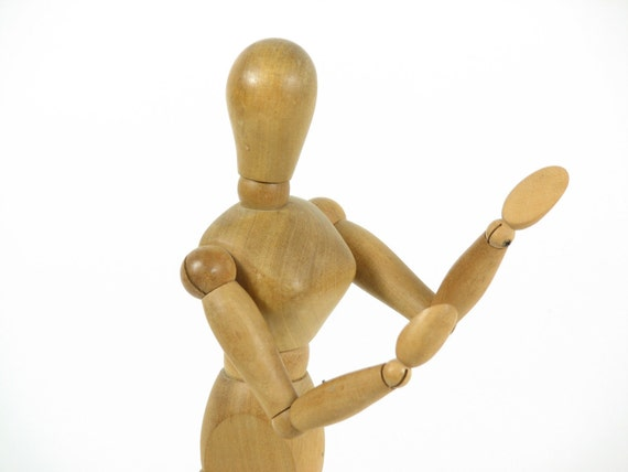Vintage Wooden Artists Mannequin Human Female Form Poseable Wood Model