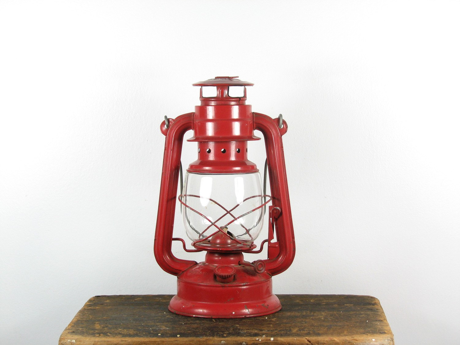 Vintage Kerosene Red Lantern Triangle
