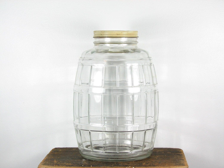 Vintage Glass Pickle Jar Glass Barrel With Metal Lid