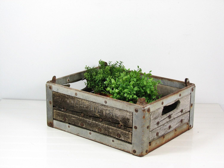 vintage wood metal milk crate herb planter. Black Bedroom Furniture Sets. Home Design Ideas