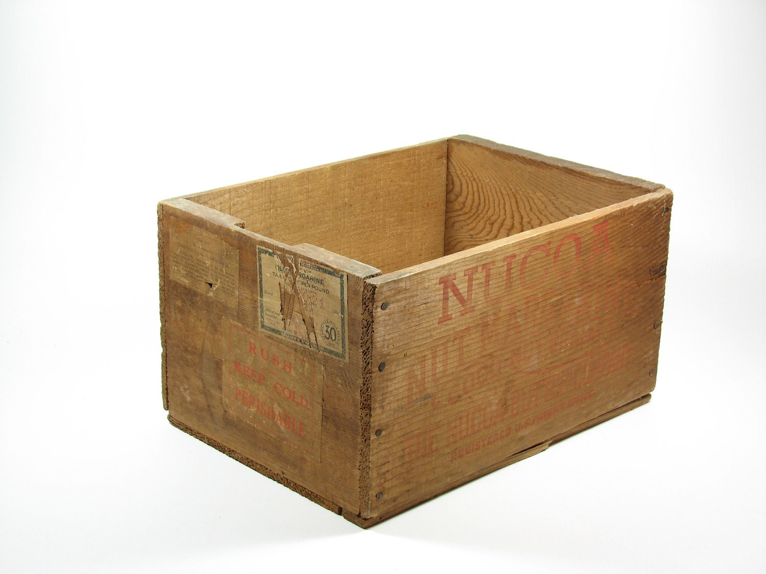 Vintage wood crate advertising box wooden nucoa butter co for Where to find old wooden crates