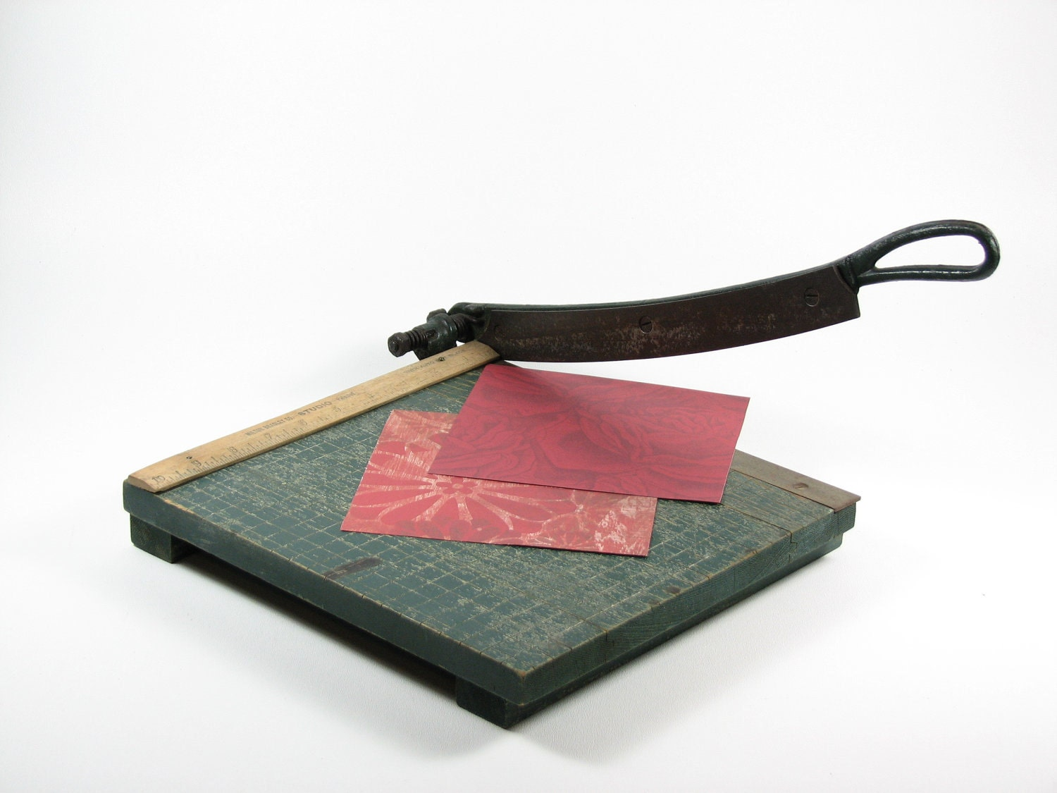 Vintage wood paper cutter craft tool milton by bridgewoodplace for Paper cutter for crafts