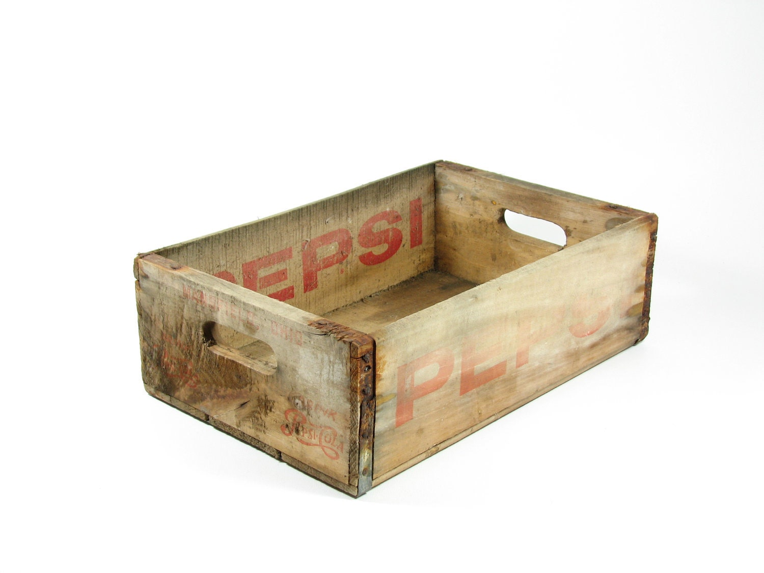 Vintage Wood Pepsi Crate Wooden Box Red Logo by BridgewoodPlace