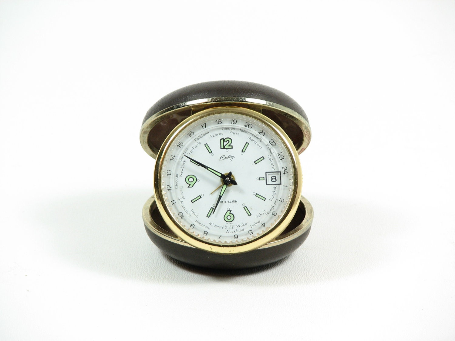 Vintage Travel Alarm Clock Bradley Small Clock World Time Gift