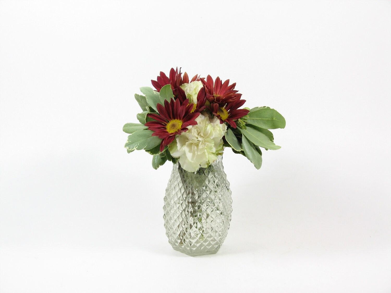 Vintage Glass Flower Vase Small Hexagon Shape