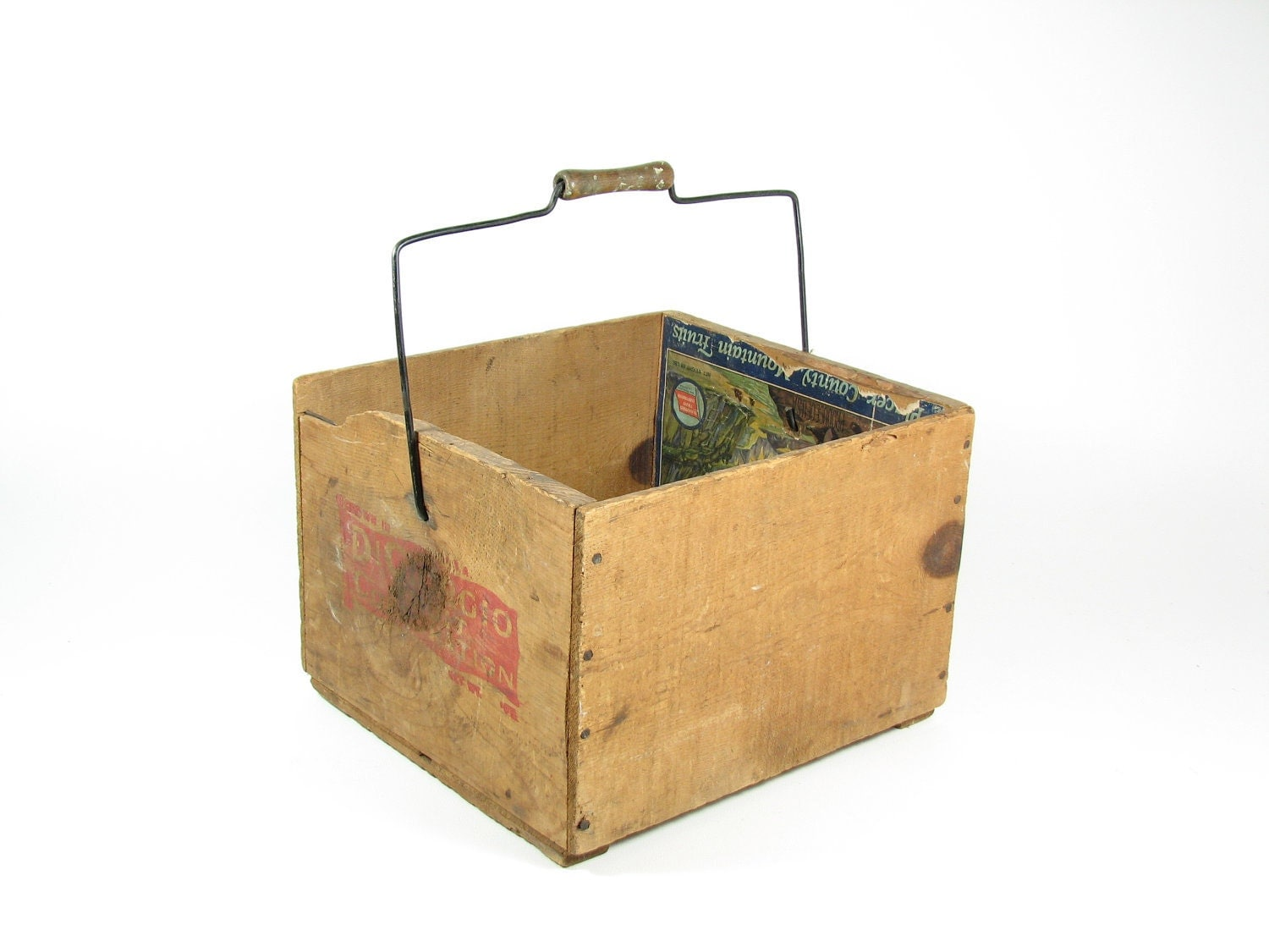 Vintage wood crate wooden box with handle fruit crate placer for Wooden fruit crates
