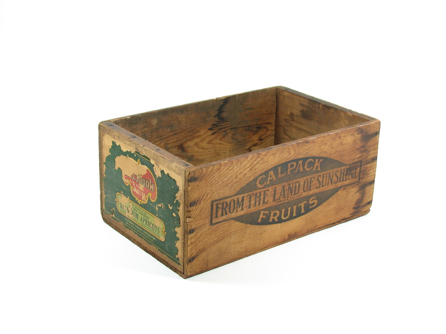 vintage wood fruit crate wooden box ca del monte cal pack
