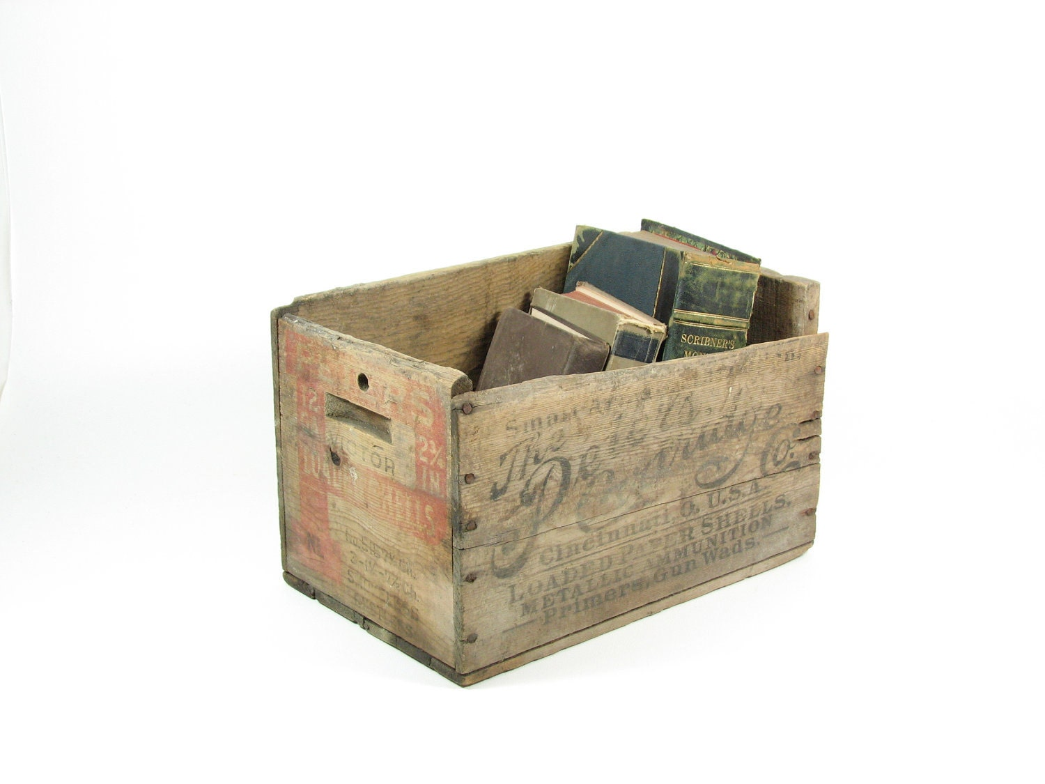 Vintage Wood Crate Wooden Box Ammo Crate Peters Cartridge Co