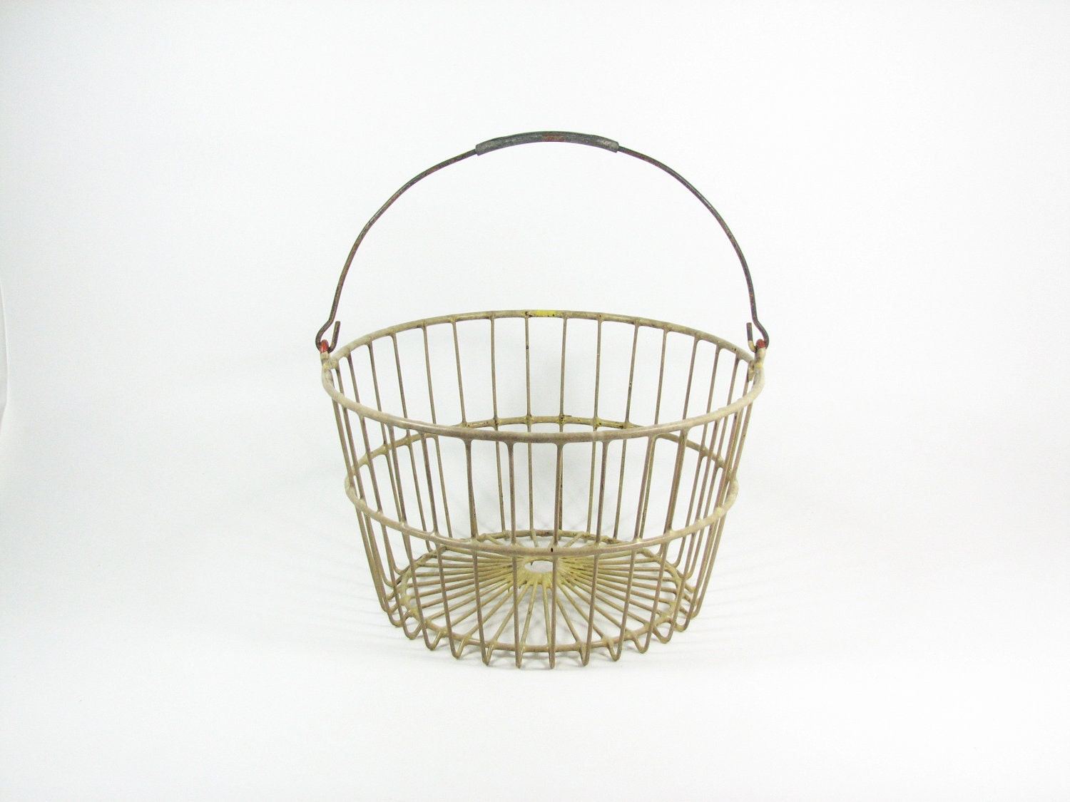 Vintage Egg Basket Metal Wire Tote With Handle By