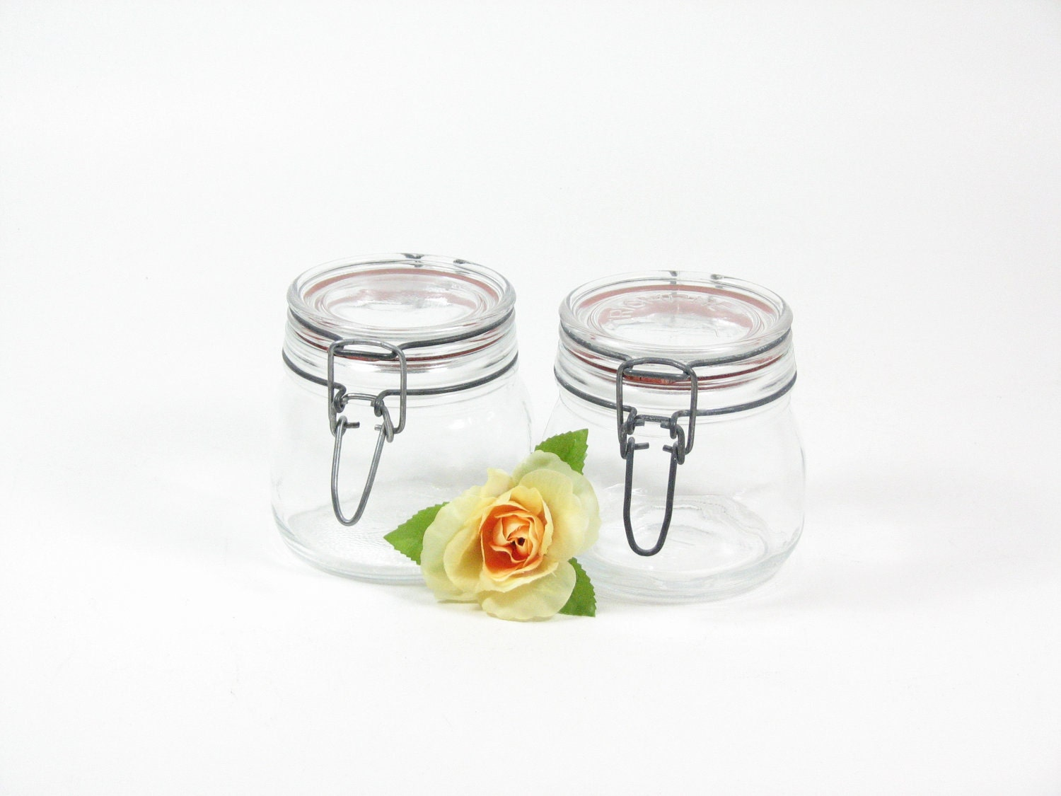 vintage small mason jars hinged lid glass lid metal clamp. Black Bedroom Furniture Sets. Home Design Ideas