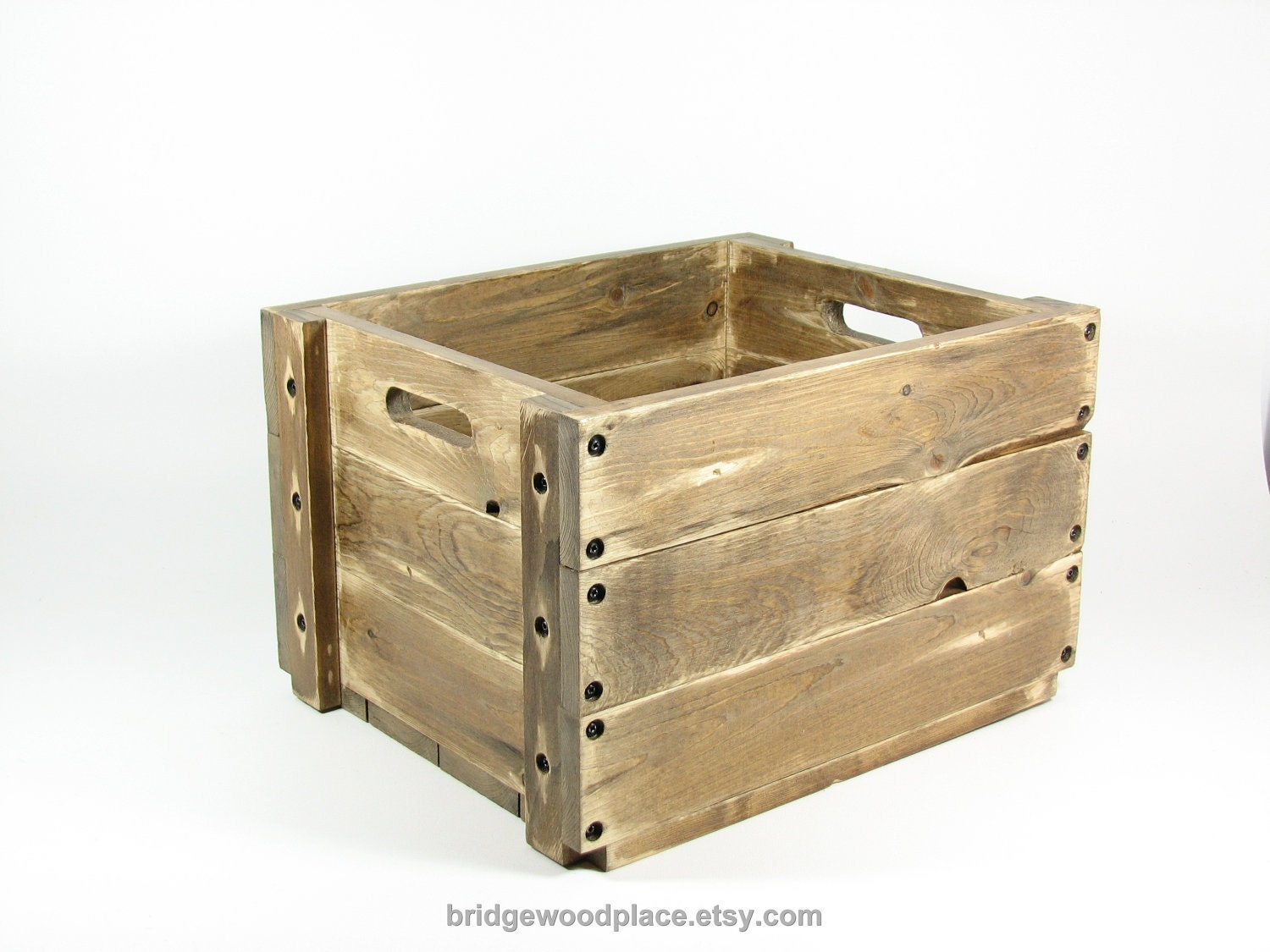 Wood Crate Wooden Box Side Table Stackable by BridgewoodPlace