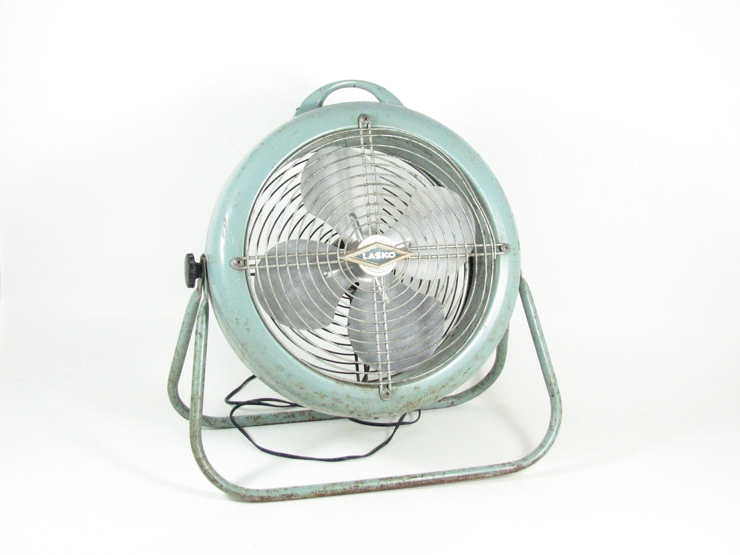 Vintage Metal Floor Fan Lasko 1250 Retro 50s Teal Turquoise