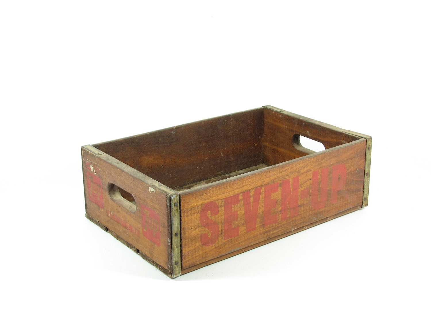 Vintage wood crate wooden box 7 up soda pop crate shadow box for Old wooden crates